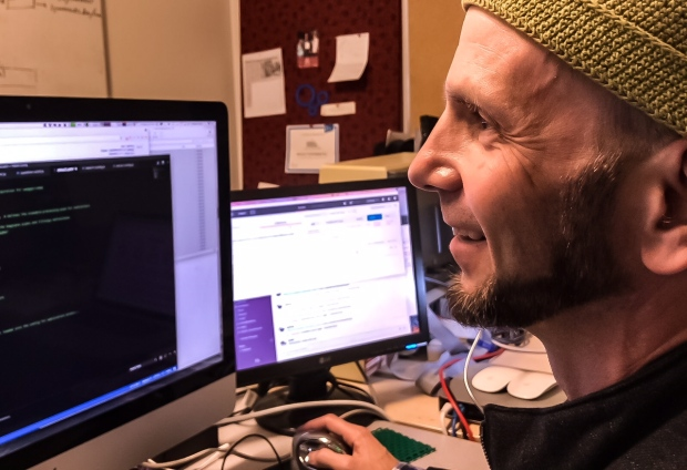 Mike Morley, who founded Menome Technologies after losing his energy sector job, believes mining data could one day replace drilling for oil in Calgary's economy. (Erin Collins/CBC)
