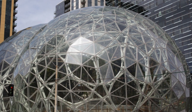 The signature glass spheres of the Amazon corporate headquarters in Seattle while under construction in June. (David Ryder/Getty Images)