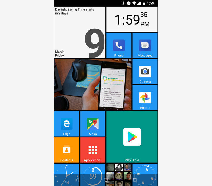 The Microsoft Launcher's main home screen panel and feed.