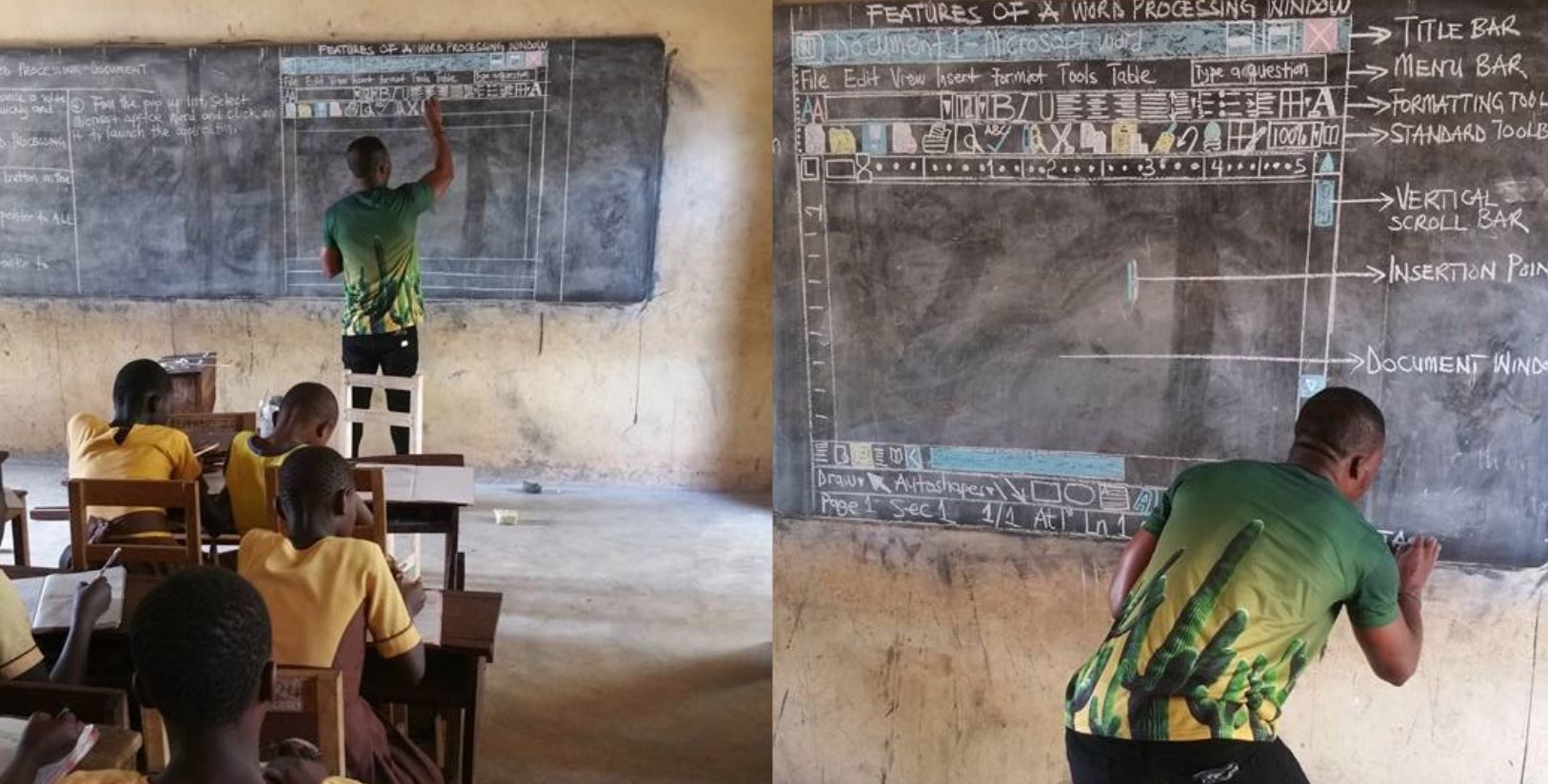 Richard at work in his class in Ghana