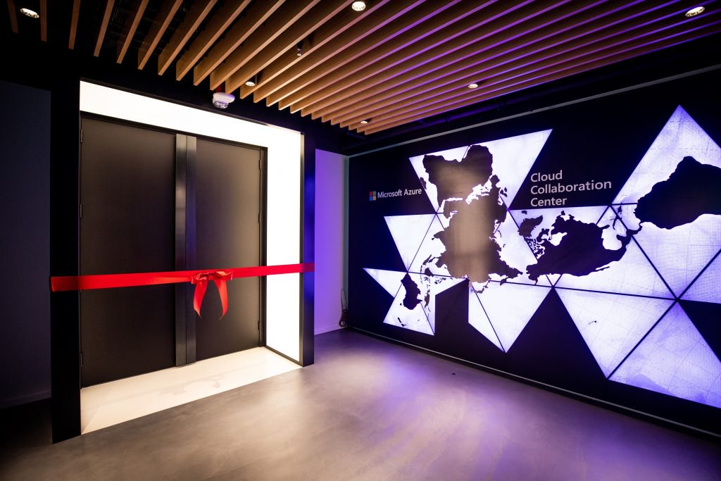 The Dymaxion map, by Buckminster Fuller, is featured at the CCC entrance to symbolize Microsoft's commitment to customers around the world, and the global presence of Azure.