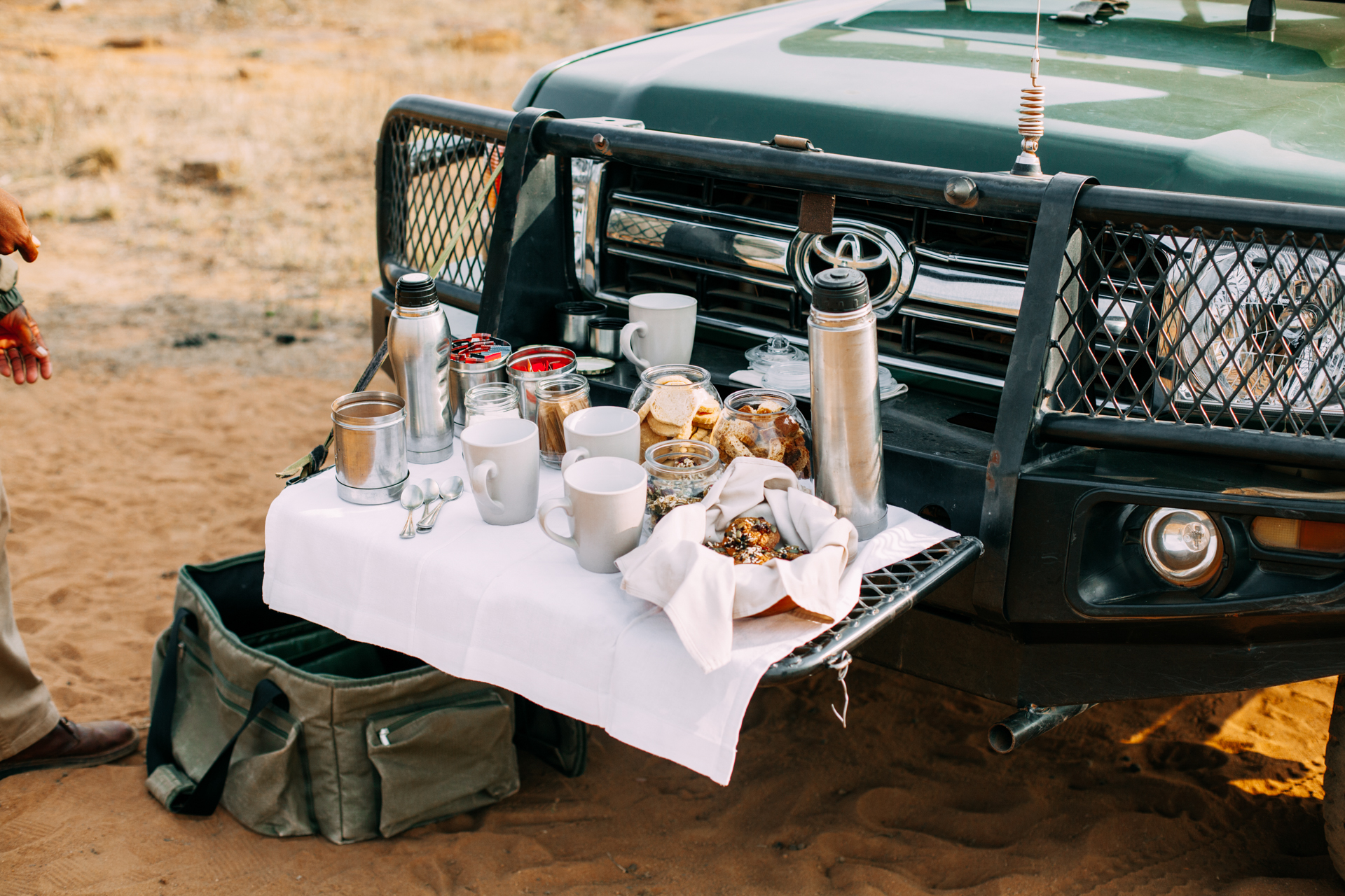 TEA IN THE BUSH: Stopping for tea and rusks in the early morning, while in awe of the peace and quiet that surrounded us (apart from the birds waking up).