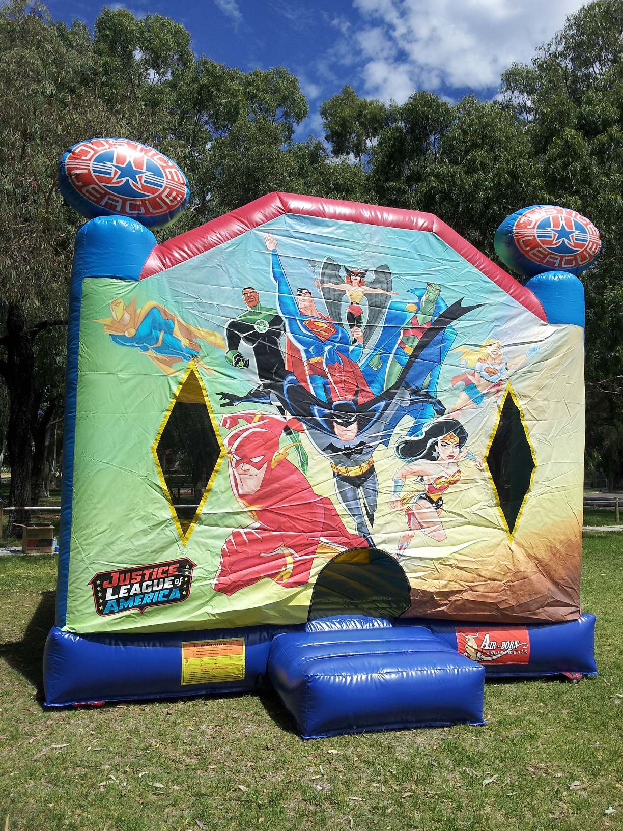 Super Heroes Bouncy Castle is free to hire with our Triple Bounce package deal  - OR$200 AS PART OF OUR DOUBLE BOUNCE PACKAGE DEAL