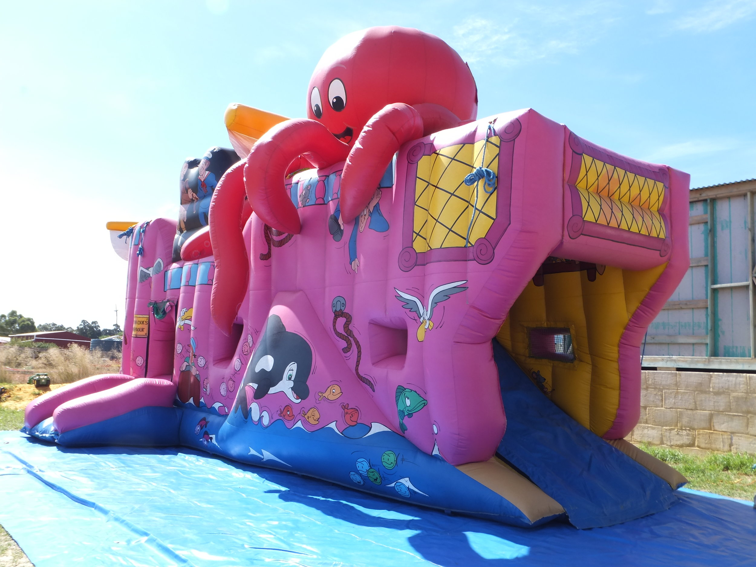 With it's giant octopus our Captain Cook Bouncy Castle is visually appealing -