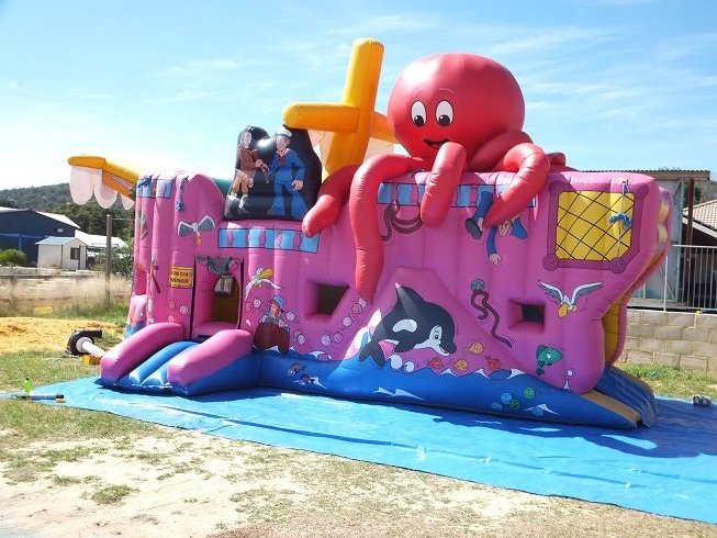 Want a Bouncy Castle hire that is a stand out? Our Captain Cook Bouncy Castle is big, bright and perfect for larger events -