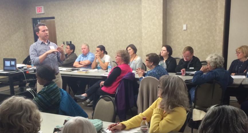 Community Arts Director Joshua Lunsford presents in Muskogee