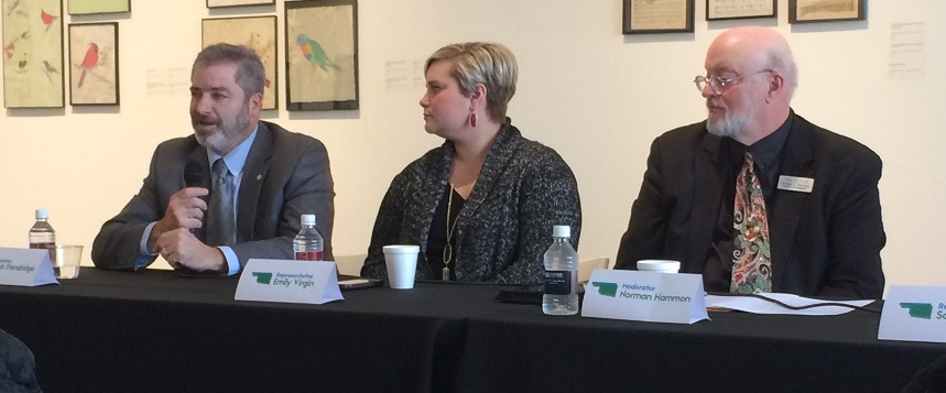 Senator Rob Standridge, Representative Emily Virgin and moderator Norman Hammons at the Norman Arts Roundtable's annual Legislator Forum.
