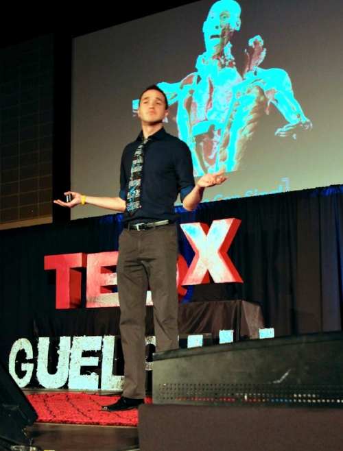 "Jordan Scholl   presenting at TEDx GuelphU on why he believes ""Anyone Can Sing!"""