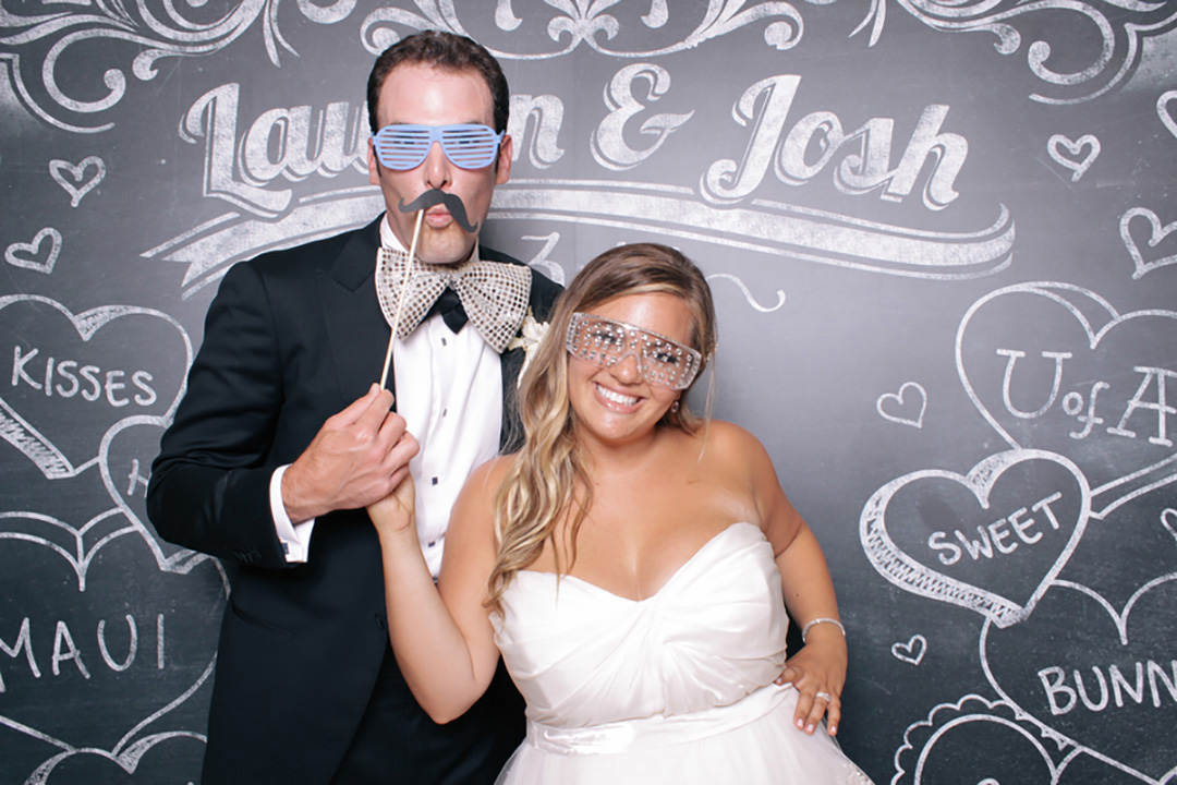 Copy of The bride and groom in front of a open air photo booth for weddi