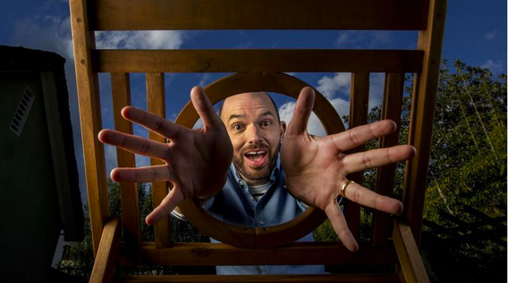 """Actor-comedian-writer-director Paul Scheer, currently seen the Showtime series, """"Black Monday,"""" is also the host of two popular podcasts about films, a regular presence at the Upright Citizens Brigade and the co-author of a Marvel Comics series.  (Mel Melcon / Los Angeles Times)"""