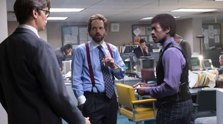 """Andrew Rannells, Paul Scheer and Don Cheadle in """"Black Monday."""" (Erin Simkin / Showtime)"""