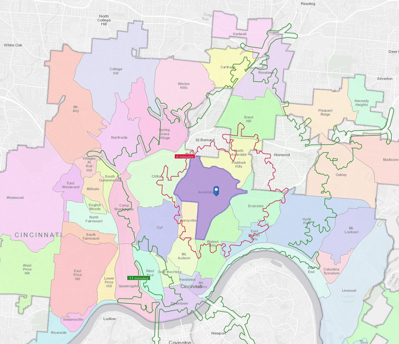 Map of neighborhoods in Cincinnati. Neighborhood of Avondale located in Uptown is an opportunity zone.
