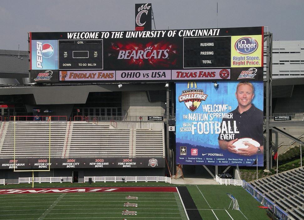 Holthaus Lackner Signs designed the University of Cincinnati scoreboard in Nippert Stadium.