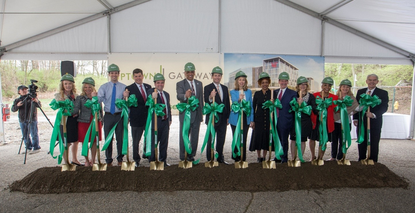 City officials, university and community leaders break ground on the Uptown Gateway development in the Uptown Innovation Corridor.