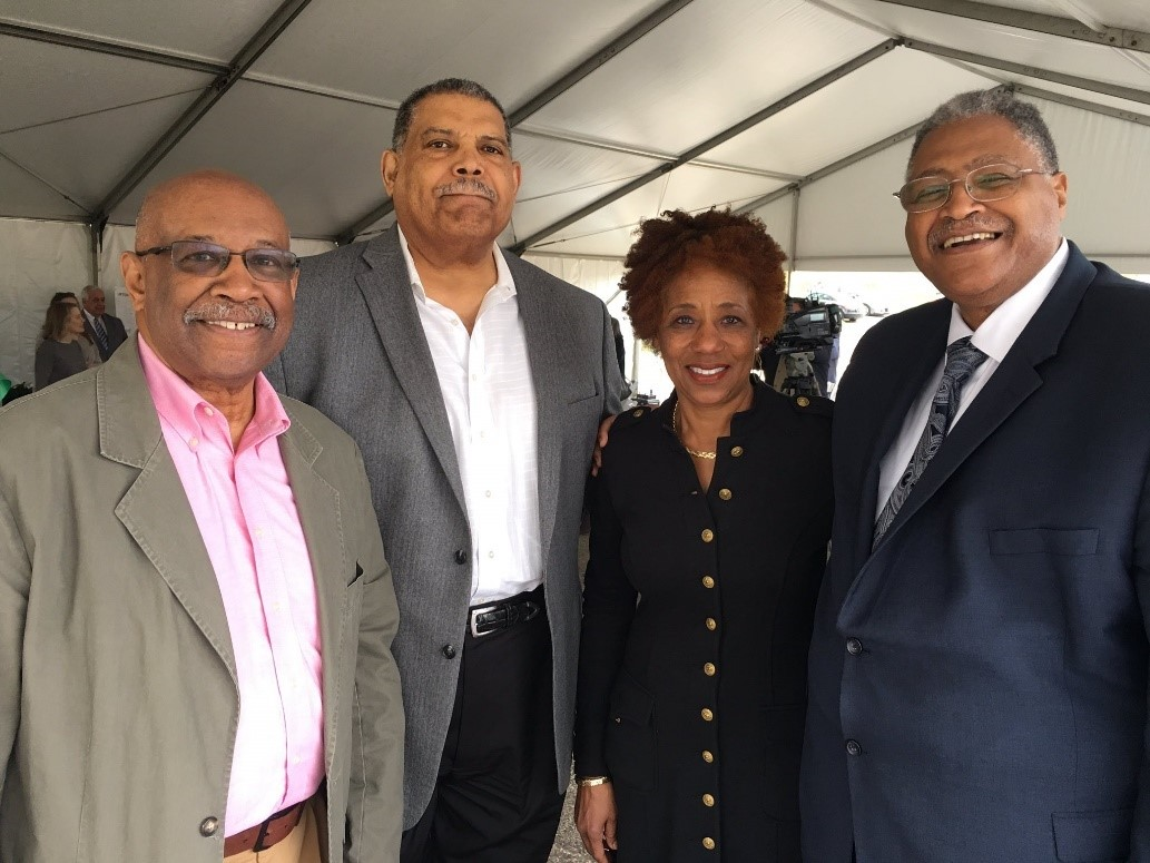 (Left to right): Henry Brown, Bill Witten, Patricia Milton and Howard Elliott attend the Uptown Gateway groundbreaking.