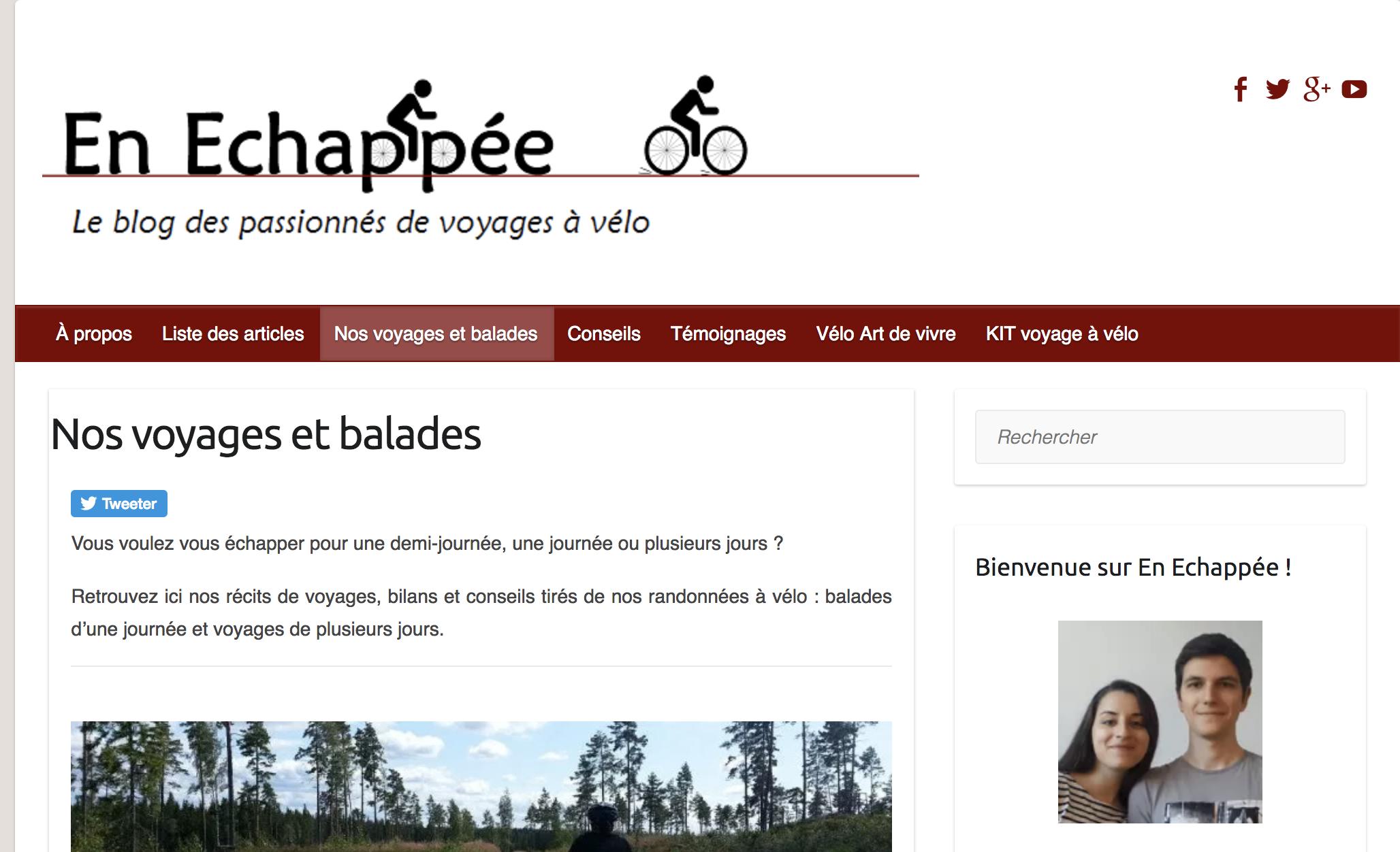 EnEchappée - Un blog référence pour les cyclotouristes Français ! Leurs voyages, des conseils, des témoignages. Parfait pour préparer un voyage.