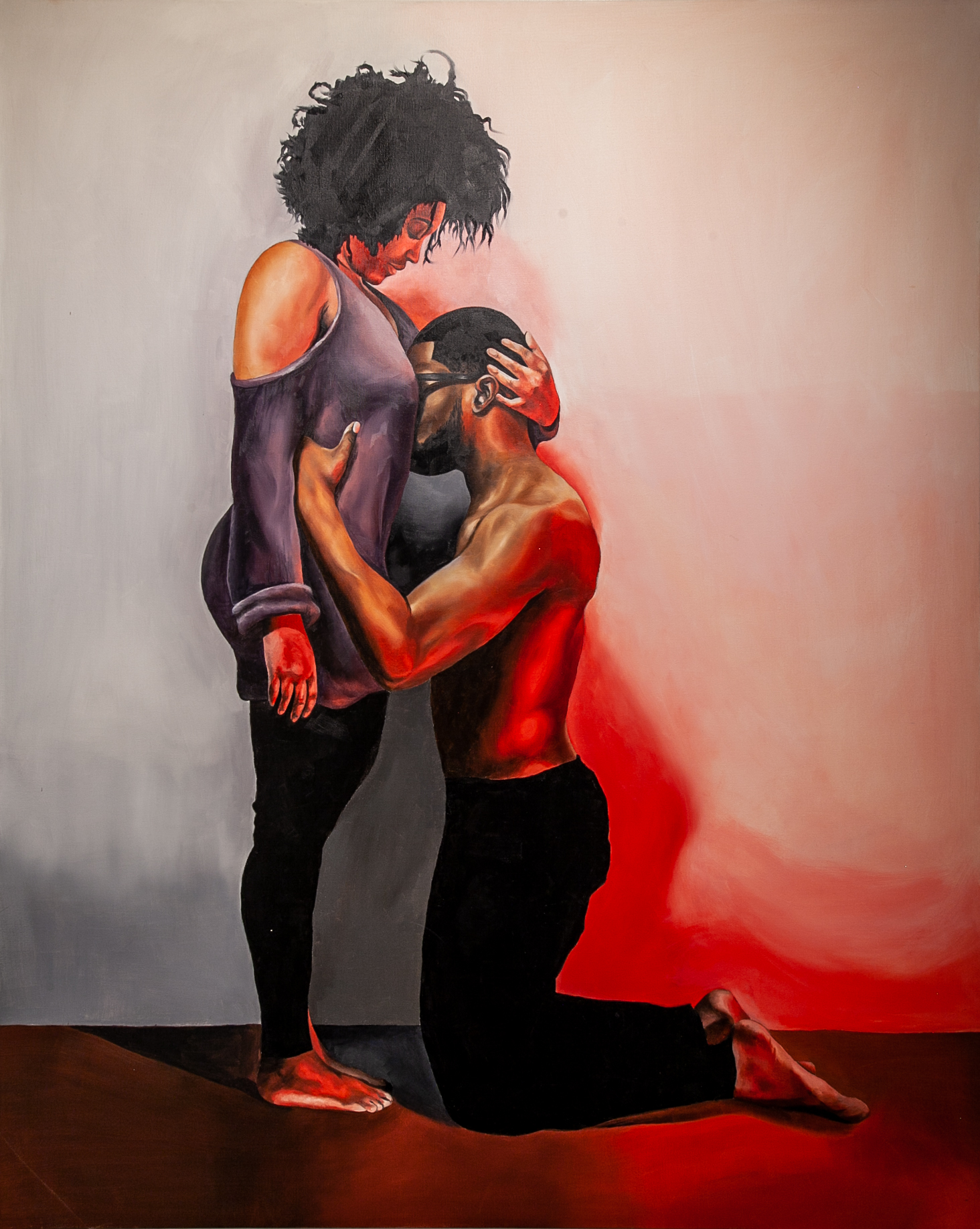 Richard Echols (Cordova, TN)   Embrace,  2017  Medium: Oil paint on canvas  Dimensions: 54x42 inches