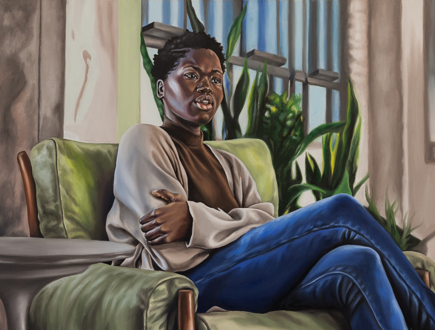 Richard Echols (Cordova, TN)   Gaze,  2018  Medium: Oil paint on canvas  Dimensions: 36x24 inches