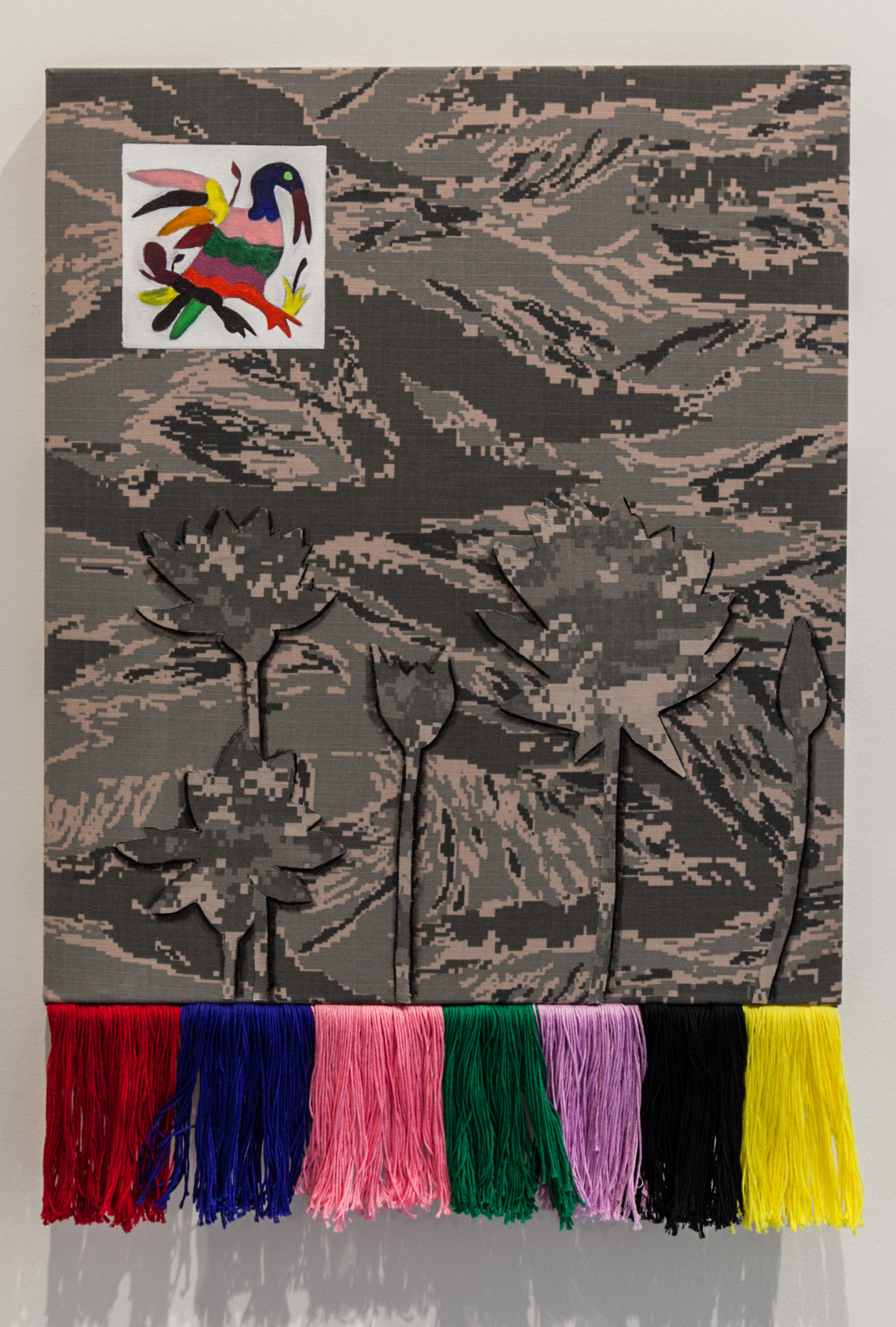 Erick Antonio Benitez (Baltimore, MD)   Half the Gradient Hugs the Wall , 2018  Medium: Oil, acrylic, and embroidery on stretched camouflage fabric  Dimensions: 24x17 inches