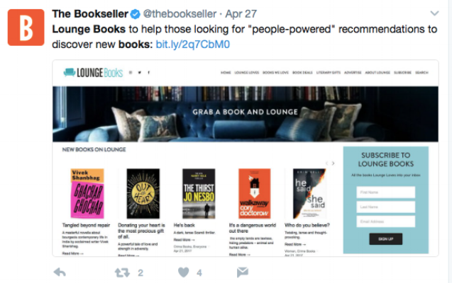 Lounge Books - The Bookseller tweet