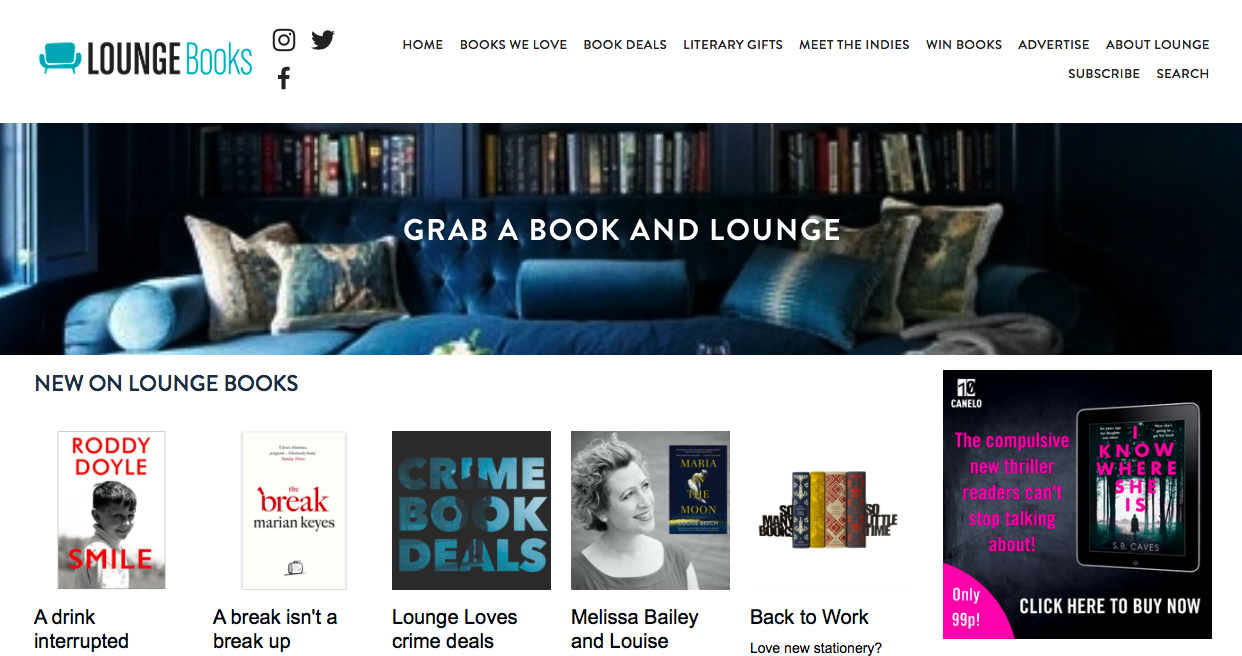 Lounge Books - Home page with an ad