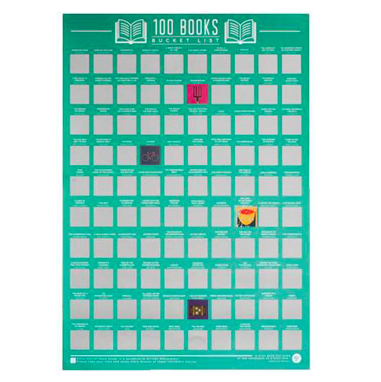 100 Books Scratch Off Bucket List Poster   Read and enjoy one hundred amazing books and each time you finish one you can scratch off the panel to reveal a hidden image.  £12.99
