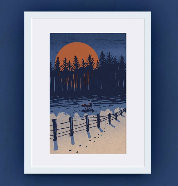 Fox and Big Winter Moon - Giclee reproduction of original lino cut art print.    £9.00