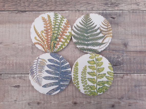 Botanical Ceramic Fern Coasters Set of 4    £11.99