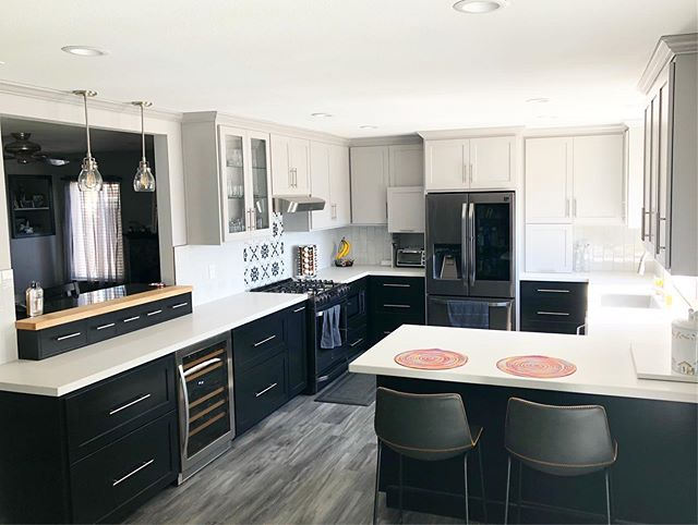 Wrapped up the Robertson's black and gray kitchen last month. Swipe to see the before.  Lots of little custom details. I will post more pictures. Quite a transformation to a more modern kitchen. #eskewwoodworking #customkitchen #tricornblack
