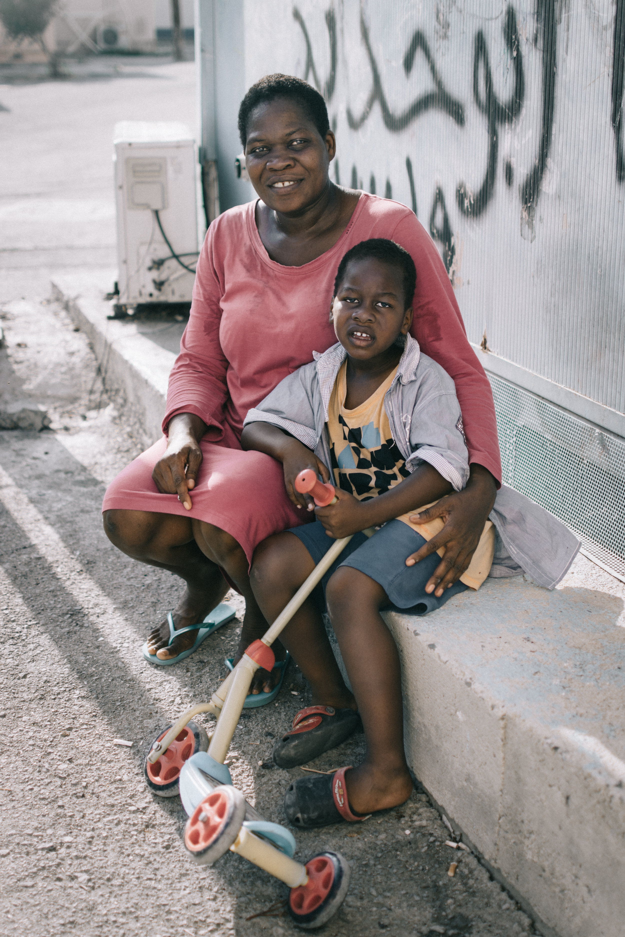 African refugee mother and child in Kofinou refugee camp. Larnaca, Cyprus.