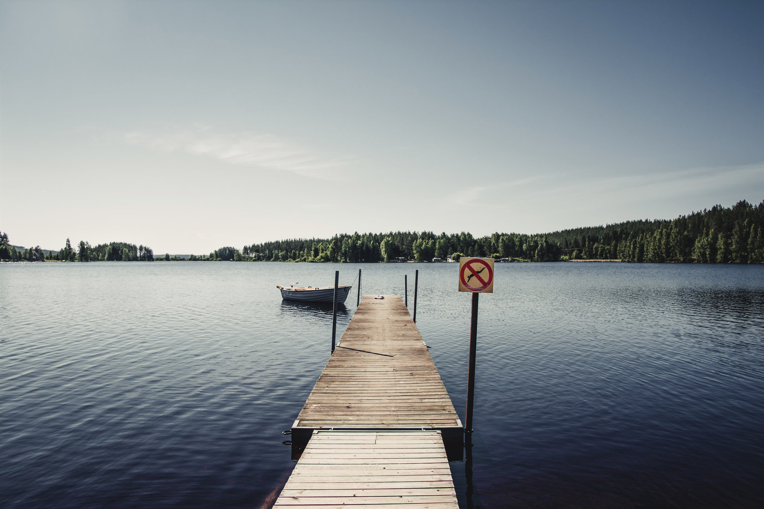 A jetty looks out on Lake Nain from an island in the middle of the water. Uvana, Varmlands, Sweden.