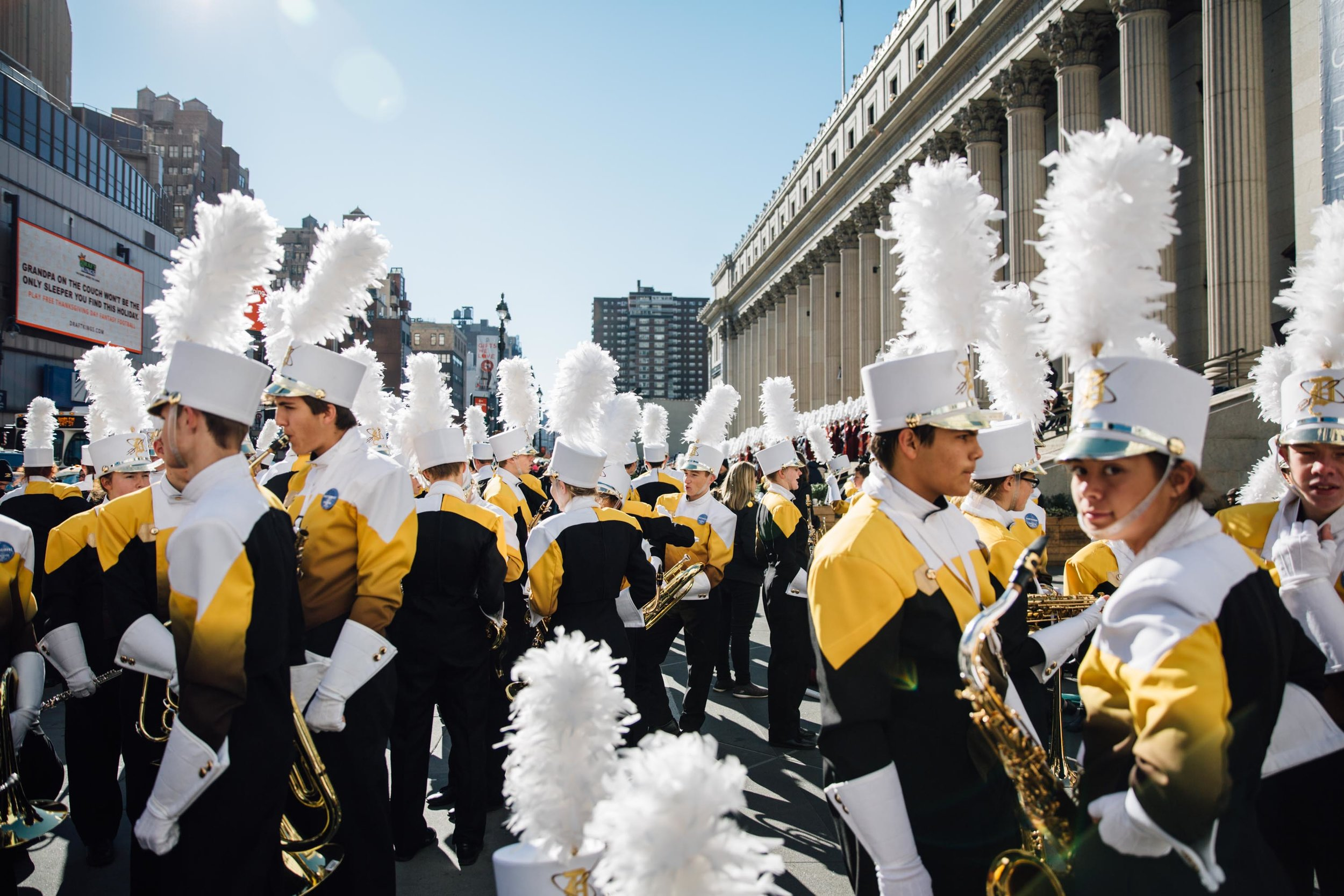 A marching band in the Macy's Thanksgiving Day Parade congregate outside the James A. Farley Post Office Building, New York, USA. 23rd Nov 2017.
