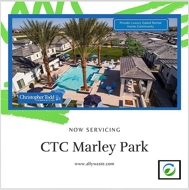 Now Servicing CTC Marley Park!These luxury, single-level build communities are leasing up quickly! #yourALLY #valettrash