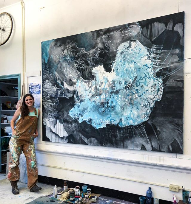 "Some paintings come easy, others - much more slowly. Since returning from Iceland, they feel like they happen almost instantaneously - like they're making themselves. It is a really amazing feeling. This is called ""Still dreaming (Jökulsárlón)"" Acrylic, graphite, spray paint 6ft x 8 ft 2019 . . . . . . . . . . . . . . . . #art #fineart #painting #contemporarypainting #contemporaryart #studio #studioart #studioartist #studioflow #studiotime #abstract #abstractart #iceland #jokulsarlon #abstractpainting #landscape #thechurchtroy #mixedmedia #mixedmediaart"