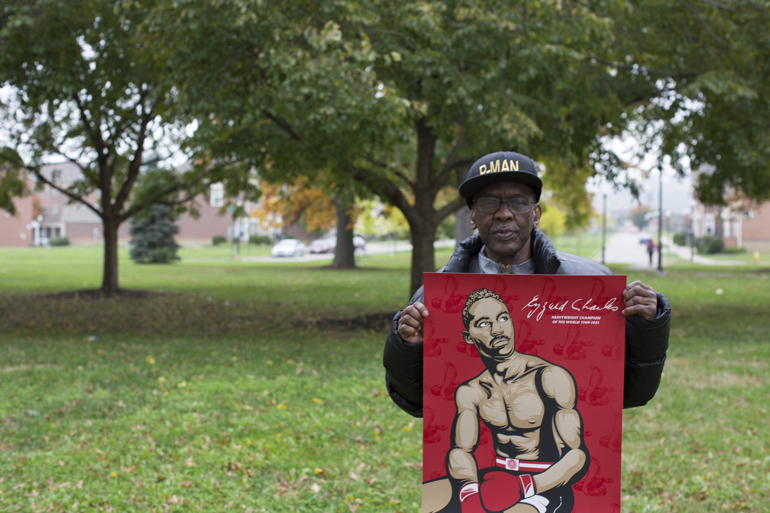 "Daryl 'P Man' Jones, an incredible boxer, supporter of Cincinnati boxing, coach, and all around ""man-to-know, and look up-too"" at Laurel Park, West End, photo by Kailah Ware"