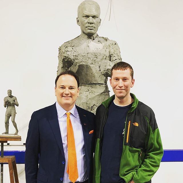 Jeff, Ezz and John! @taftsbrewingco with @fccincinnati such a great night! #EzzardCharles #BelieveInEzz #lovecincyparks #Boxing #Heavyweight #Beer #Craft #sculpture #makers #bronze