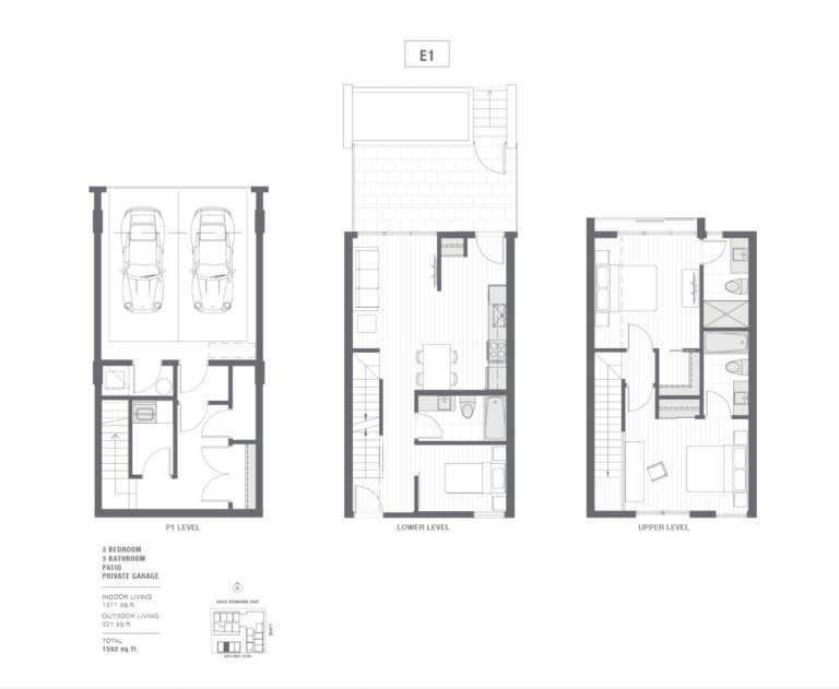 3-bedroom townhouse floorplan