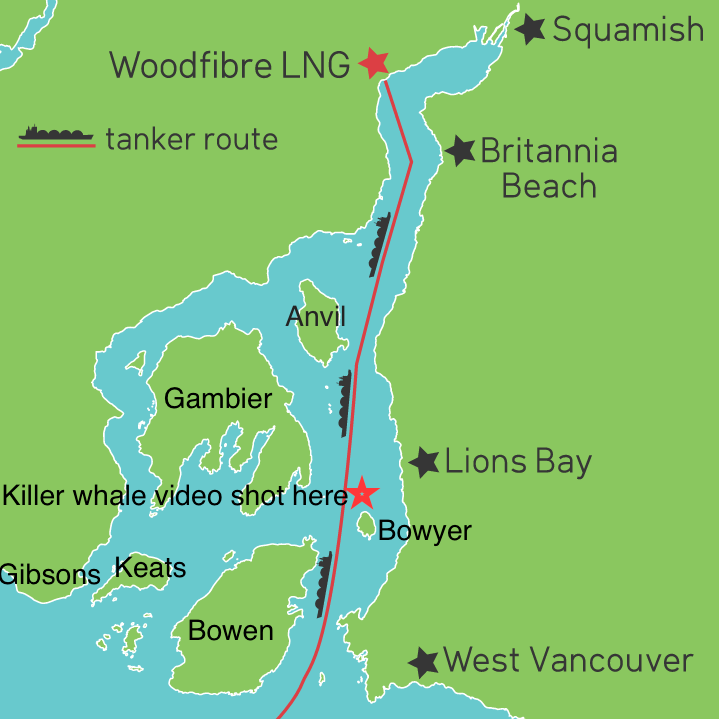 Tanker Route Through Howe Sound Shown in Relation to Where I Filmed the Killer Whale Video