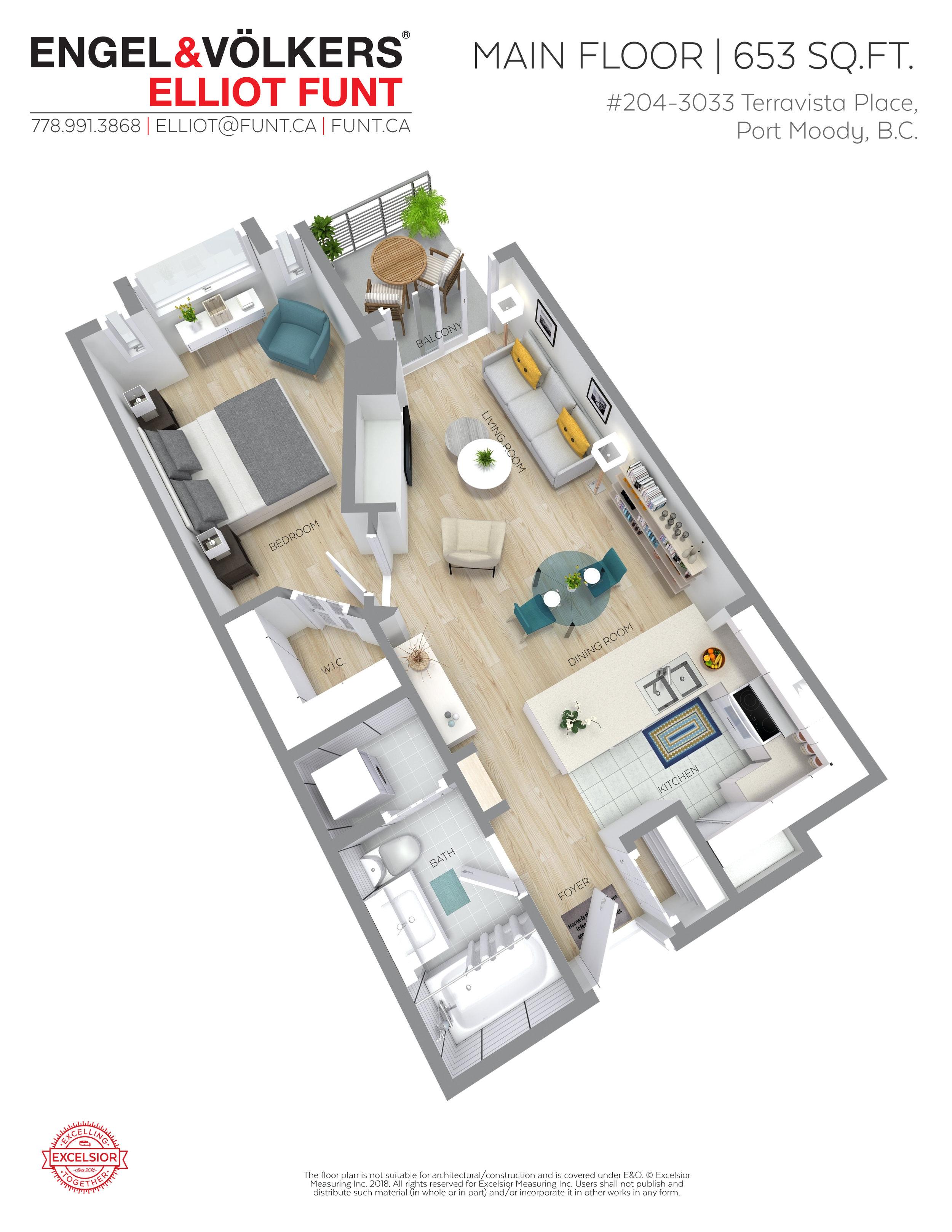 204-3033 Terravista Pl. Floor Plan. Elliot Funt Realtor