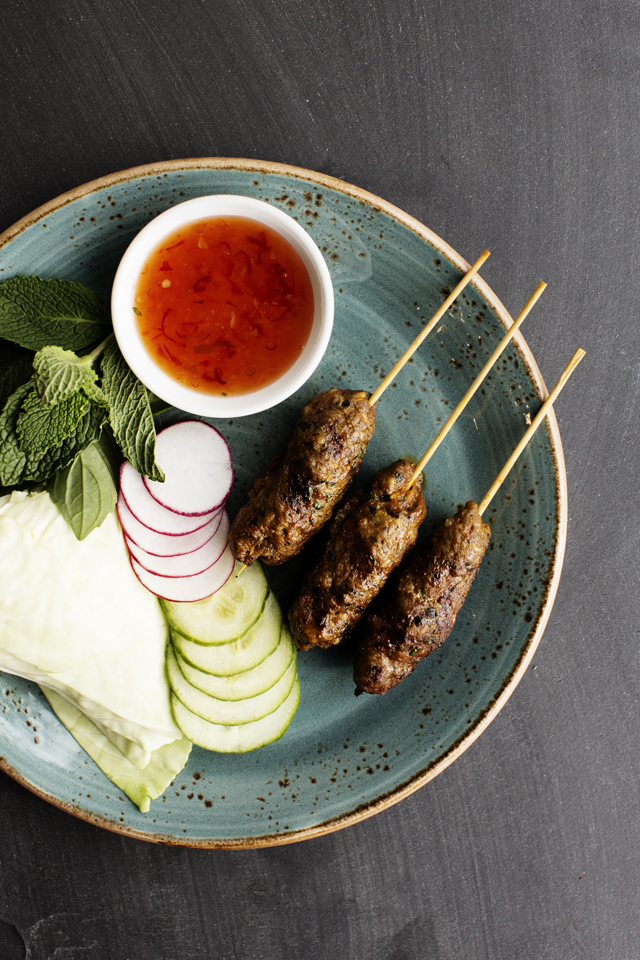 Thai Sausage Skewers  gem lettuce, fresh herbs, radish, cucumber, naam jim kai | Young Joni | The Restaurant Project