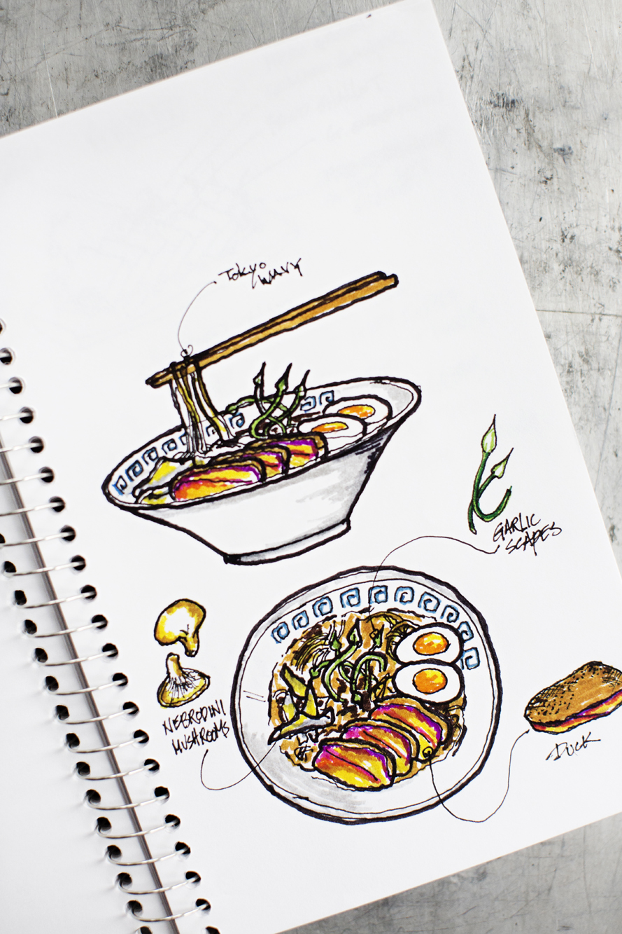 Drawing of bowls of ramen | Zen Box Izakaya | The Restaurant Project