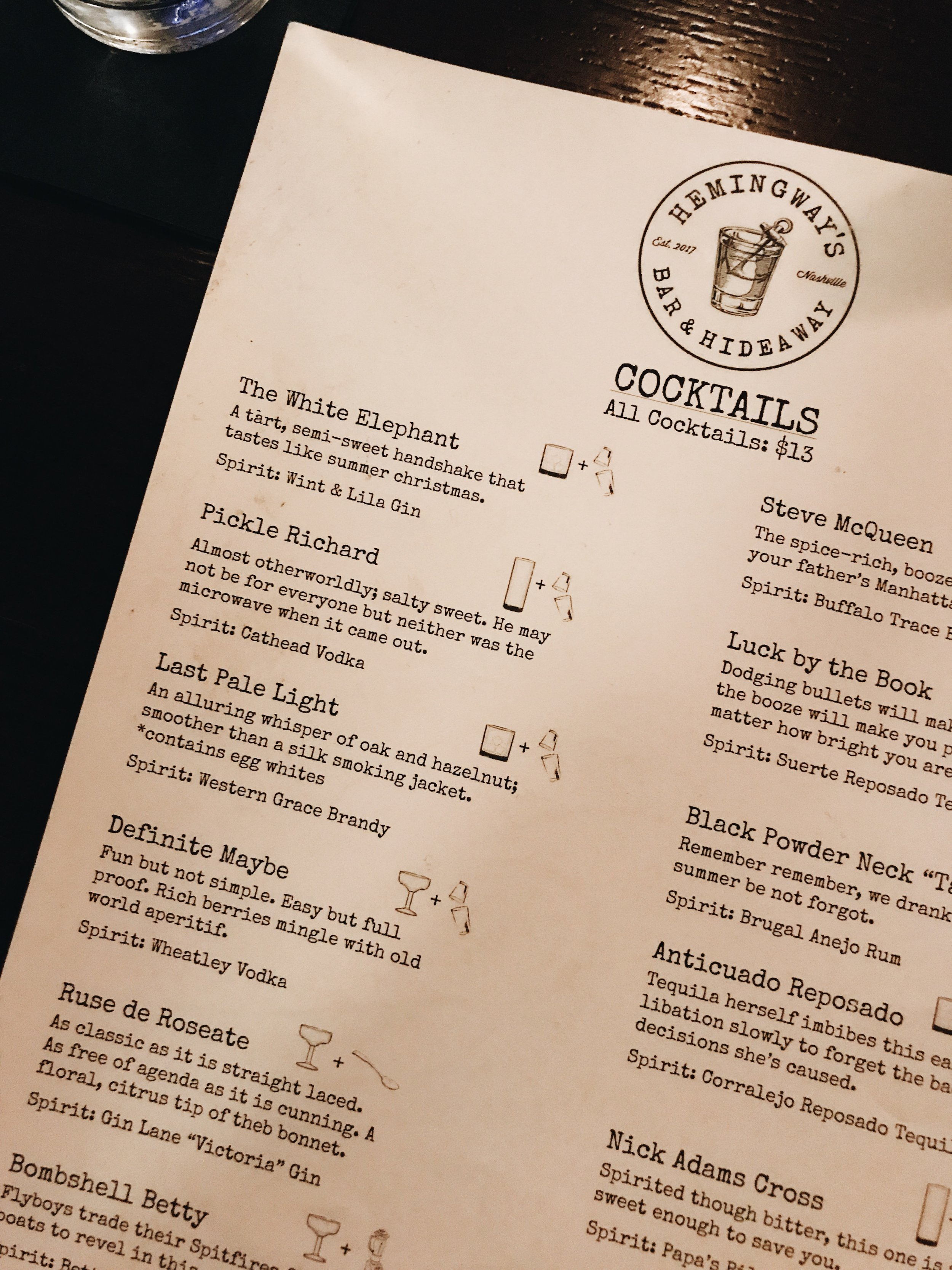 What made Hemingway's unique was that the ingredients weren't listed for their specialty cocktails. Instead, you were supposed to let the descriptions guide you. So fun!