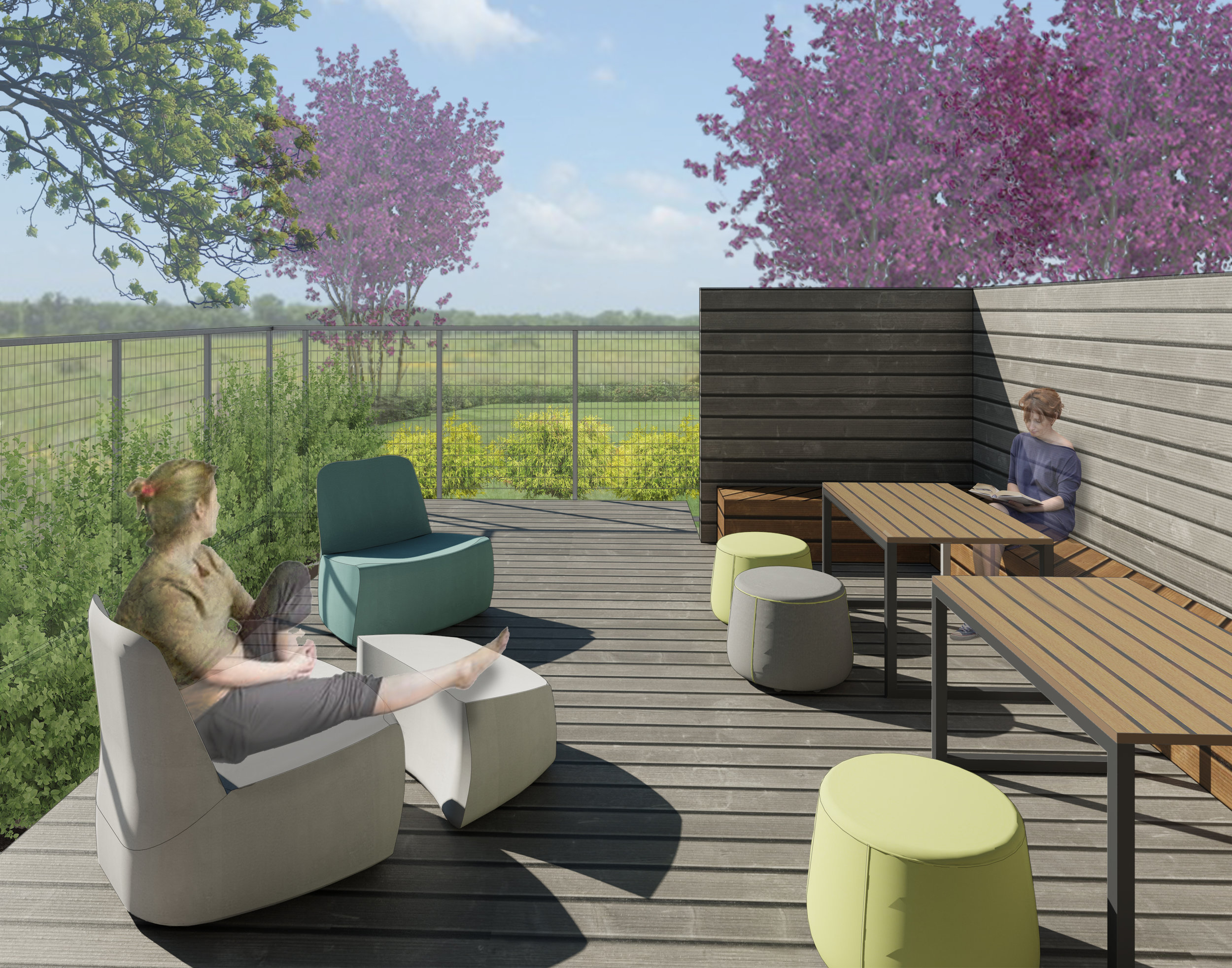 Secure outdoor space was a key component of the design of the residential facility, allowing residents a space to decompress and experience the outdoors in a more secluded setting without risk of self harm.