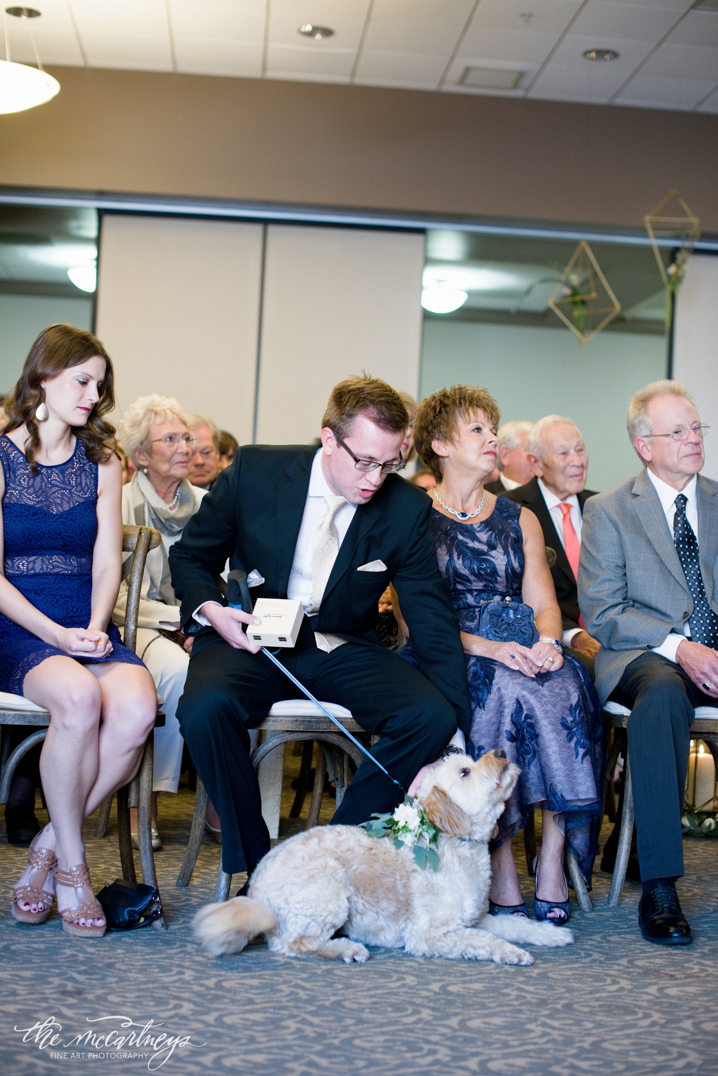We were nervous to have babies attend the ceremony, we didn't want them to cry! Then our fur baby ended up whining during the ceremony! He hadn't seen me all day, and just wanted to be up by us. In hind sight we should have had him off the leash, but he still did a great job as ring bearer!