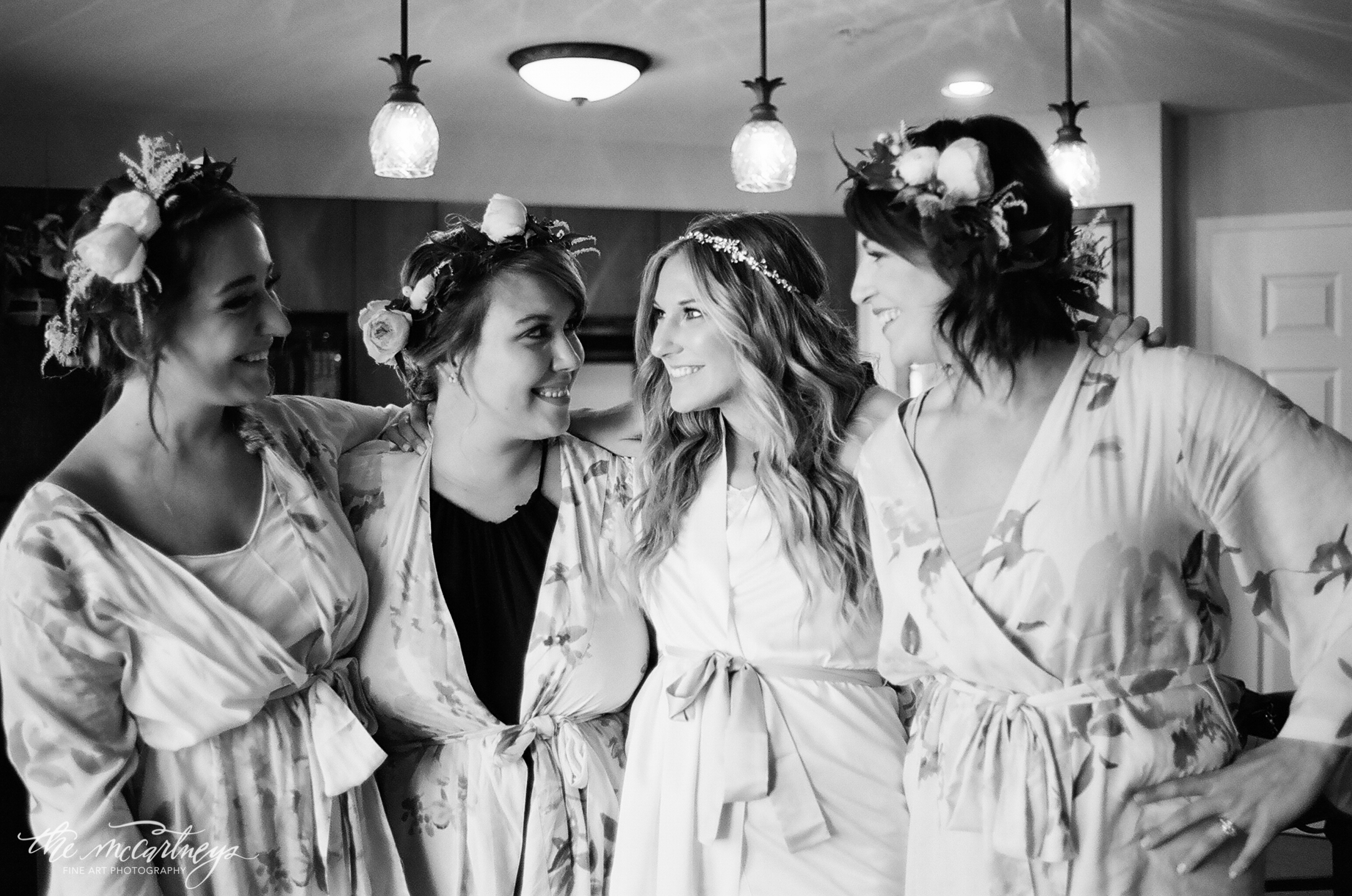 "Even though they didn't stand next to me, these lovely ladies I considered my ""Maids of Honor."" We got ready together that day; I provided robes, professional hair & makeup, and flower crowns. It was such a relaxing way to spend the day! (My best friend Anna, even fed me sushi while I was getting my hair done! #squadgoals)"
