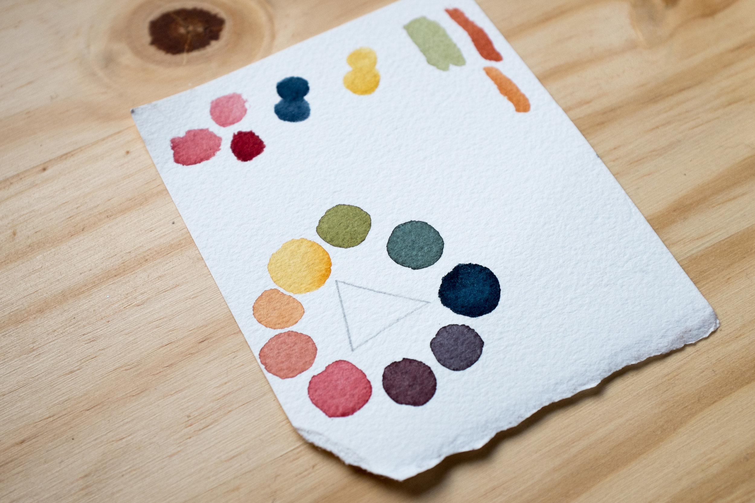 Watercolor Triad comprised of DS Quinacridone Gold, DS Perylene Maroon, and WN Payne's Grey