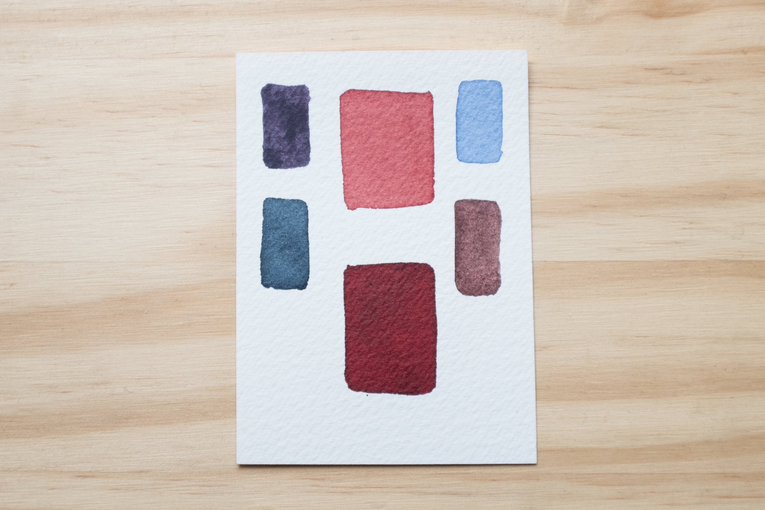 Perylene Maroon and some other colors that I feel go well with it: Daniel Smith Moonglow, Schmincke Cobalt Blue Light, Daniel Smith Piemontite Genuine, and Winsor&Newton Payne's Grey