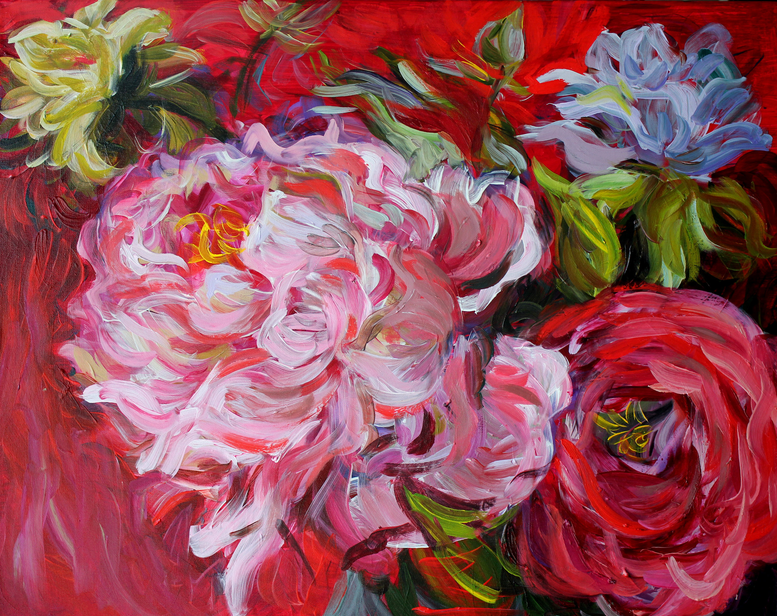 Peonies on Red 24x30 (sold)