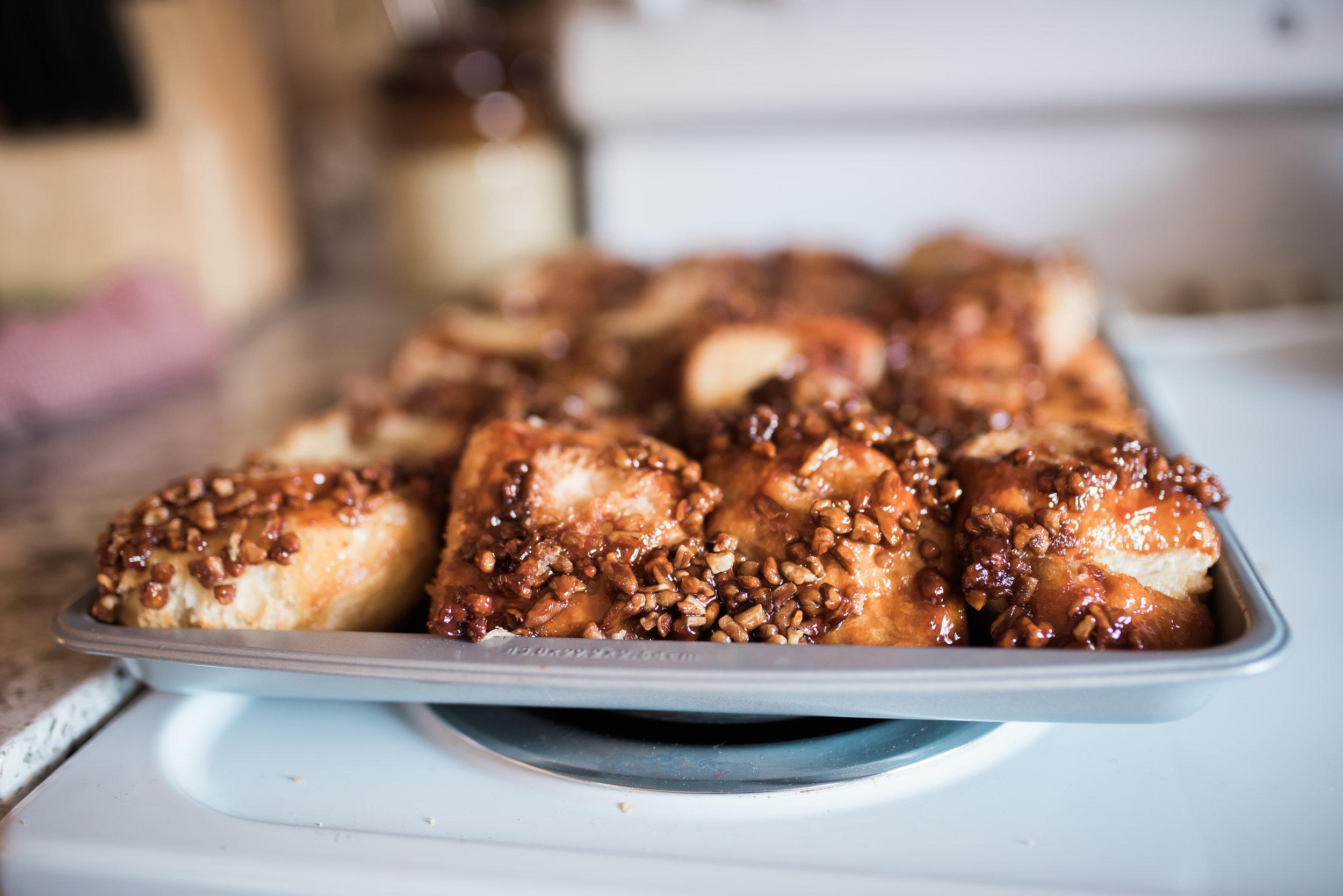 Jeanne made sticky carmel rolls to bring - YUM!