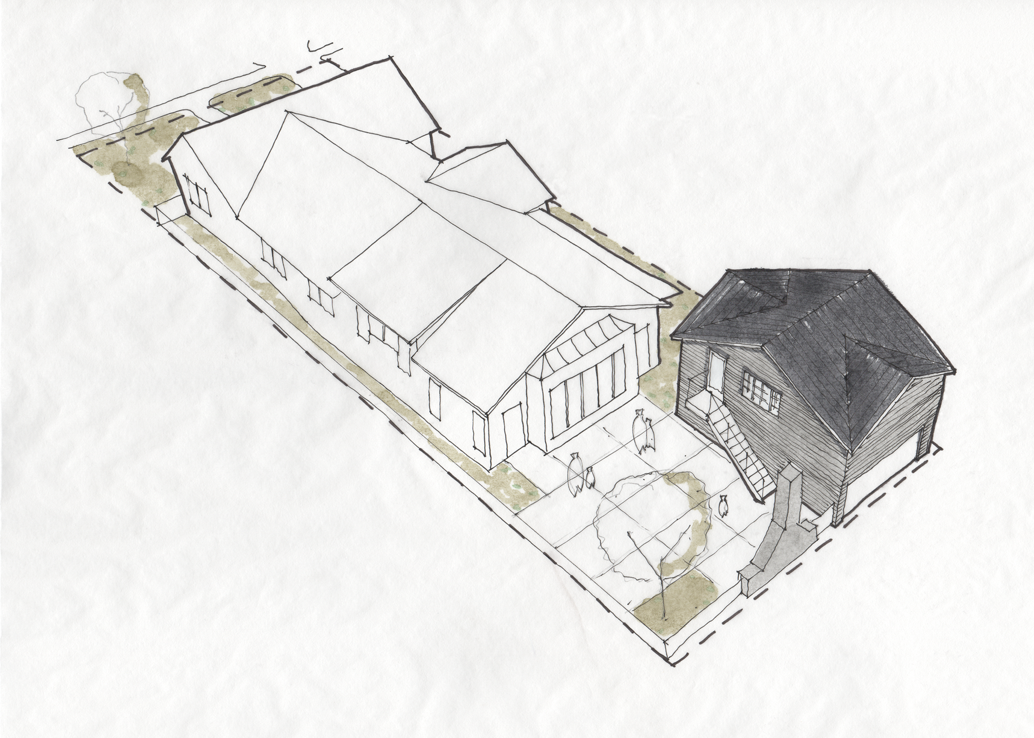 Traditional ADU design for a 2 car garage with studio apartment above and shared courtyard.